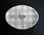 BIRD gingham oval dish.
