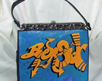 "Vintage Bag Upcycled Hand Painted ""Bien Sur"""