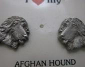 Afghan Hound Earrings Pewter Dog Lover
