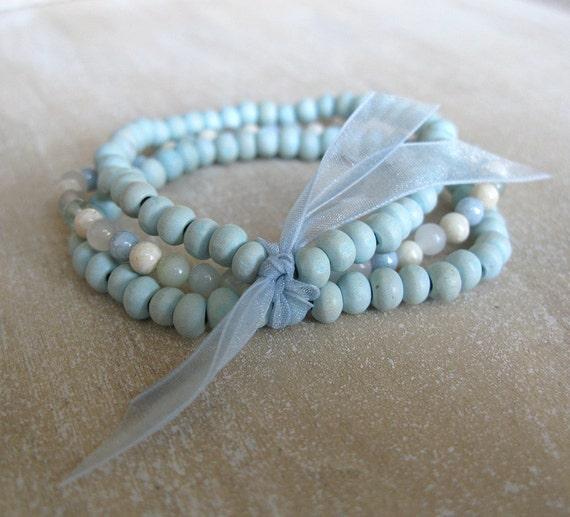 Stretchy aqua bracelets - gemstone and wood