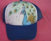 Peacock Hand Painted Trucker Hat