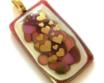 Hearts Afire -Cranberry Glass Pendant with Gold Hearts - Love, Love, Love - Hearts Afire - Fused Glass Pendant
