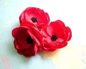 Poppy hairclip/brooch - x1 piece