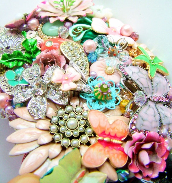 A Perfect Day  - Waist piece - OOAK - Wedding - Bridesmaid sash - Enamel flowers - Butterflies
