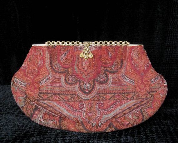 HOLD for M   ///   30s vintage clutch with antique paisley & marcasite