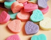 Sweet Conversation Heart Soaps - Valentine, Heart Soaps, Candy Soaps, Sweetheart, Strawberry Scent, Party Favors, Valentine's Day, Love
