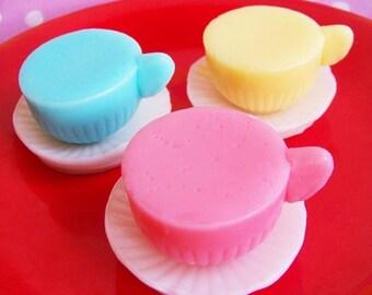 Teacup Soap Set - Soap Favors, Tea Cup Soap, Tea Party Soap, Alice In Wonderland, Black Raspberry Vanilla Soap, Kids Soap, Party Favors