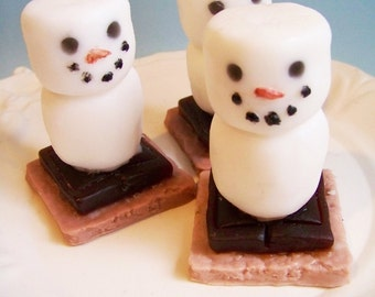 Snowman Soap Chocolate S'more - Stocking Stuffer, Campfire Smores, Kids Soap, Christmas Gift, Marshmallow Soap, Chocolate Soap, Under 10