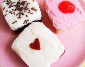 Cake Soap Frosted Slice - Food Soap, Dessert Soap, Sprinkles, Strawberry, Chocolate, Red Velvet Cake, Heart, Pink, Birthday Gift kids Bath