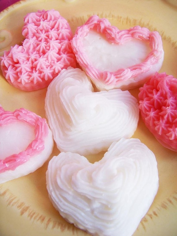 Frosted Cookie Soap Set - Heart Soap, Strawberry Scented, Frosting Soap, Soap Cookies, Wedding Favors, Bridal Shower Favors-reserved listing