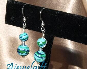 Playful Blue Green Earrings 10099