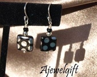 Elegant Black and Silver Polka Dot Earrings 11019