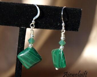 Stunning Malachite Dangle Earrings 11085