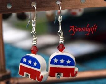 Patriotic Republican Elephant Earrings 12054