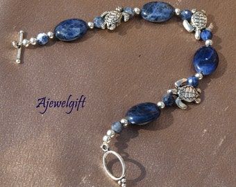Blue Ocean Sea Turtle Bracelet