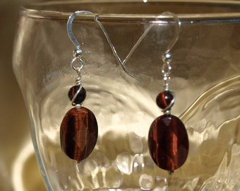 Red Faceted Tiger Eye Earrings (9036)