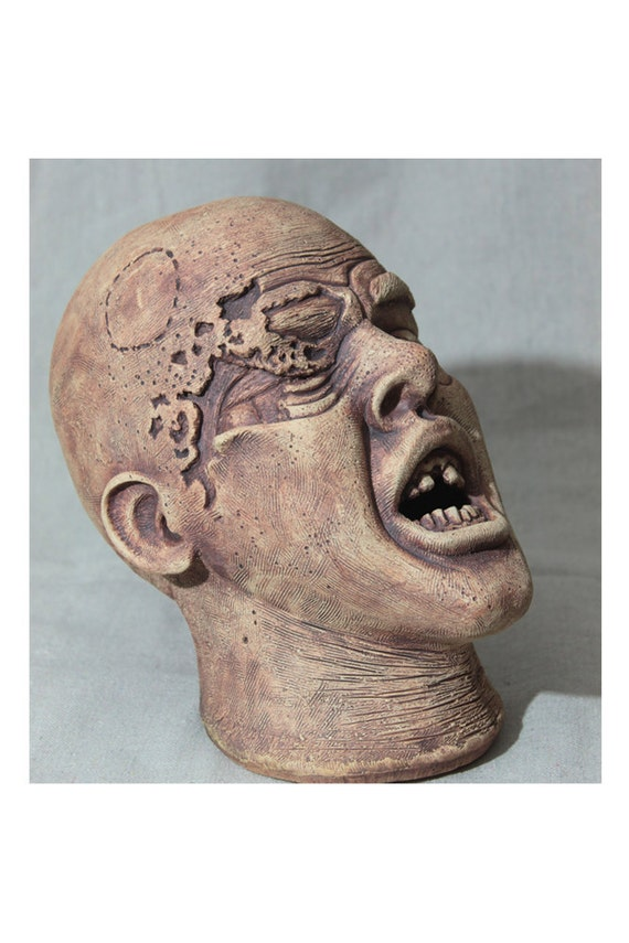 ON SALE, Zombie Head - Original Handbuild Ceramic sculpture