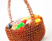 Little brown Easter basket crocheted in copper wire