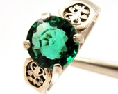 Extremely rare, 4.5 carat tsavorite garnet, exquisite quality, set in sterling ring, size 7.5