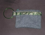Grey Wool Wristlet with Green\/Gold trim and Green handles