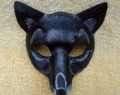 Black Fox Leather Mask... handmade black and silver fox mask
