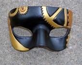 Steampunk Mask...original handmade leather mask in brass tones
