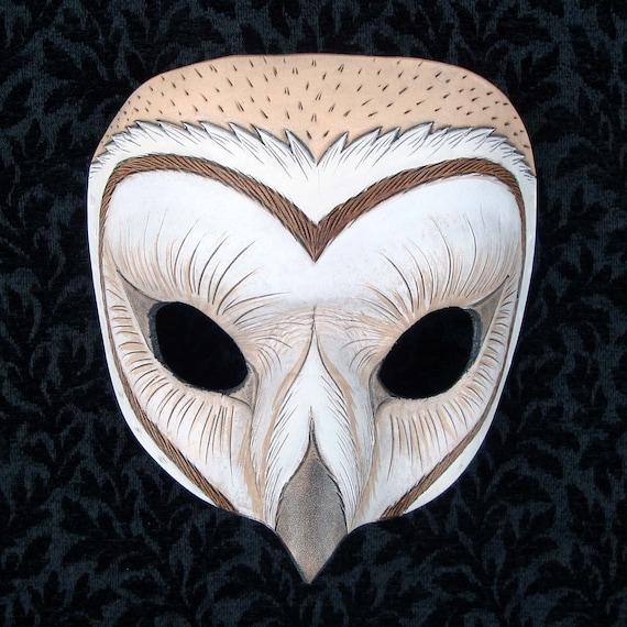 Barn Owl Mask... handmade original leather mask