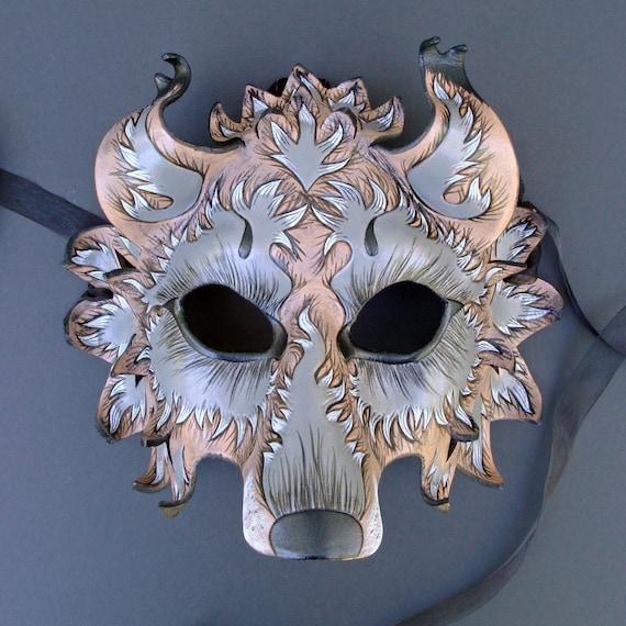 CUSTOM Fantasy Wolf Mask... Handmade Leather Mask Made to Order