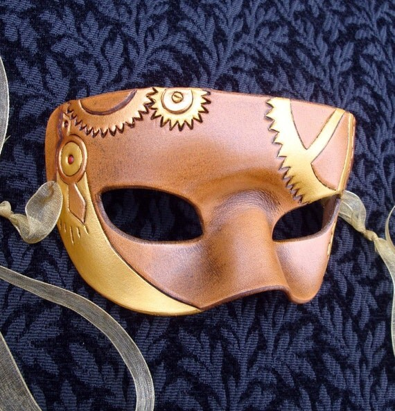 Steampunk Mask... original handmade leather mask in brass on brown tones