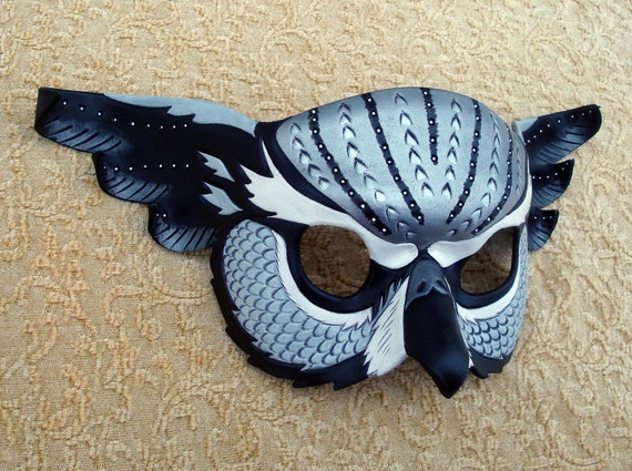 Silver Fantasy Owl Mask... handmade limited edition leather mask