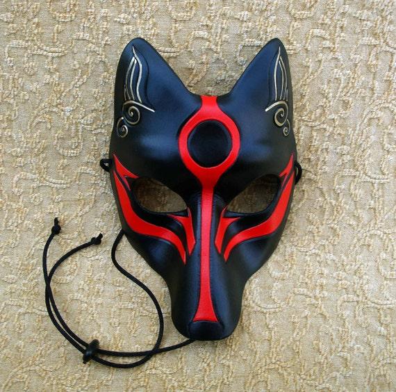 Black Okami Kitsune Mask... Japanese Fox Leather Mask