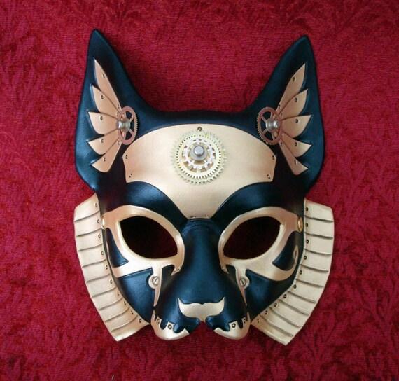Imperial Industrial Bast V3... original mixed media handmade steampunk egyptian cat goddess mask