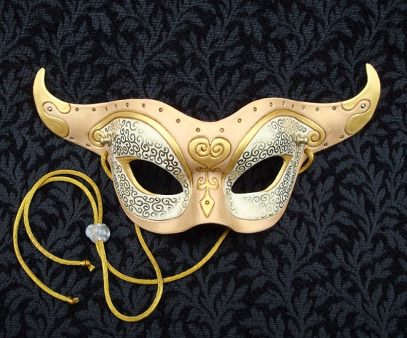 Colombina Del Tempo V5... original leather mask handmade Venetian clockwork steampunk mask