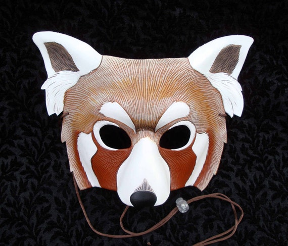 Red Panda Mask V2 ...original hand made leather mask