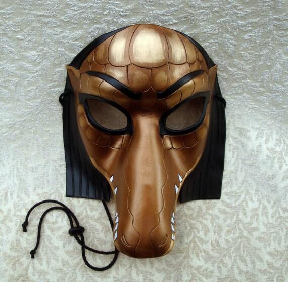 Egyptian Crocodile Mask (Sobek) ...limited edition handmade leather mask