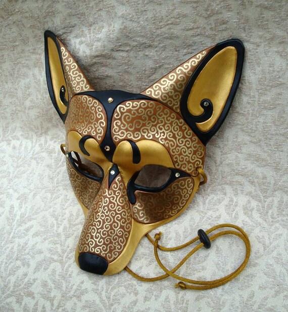 Venetian Coyote V2...  original handmade Venetian coyote leather mask