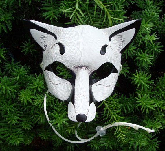 RESERVED for Nicole Dupuis... two White Fox Leather Masks