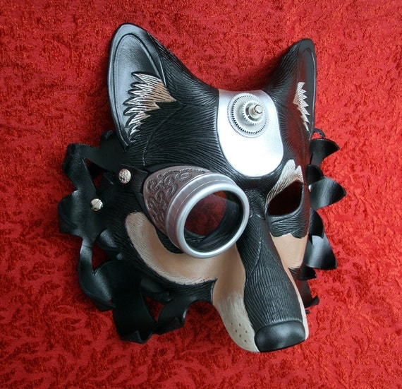 Industrial Dire Wolf Leather Mask V1... handmade mixed media leather steampunk wolf mask