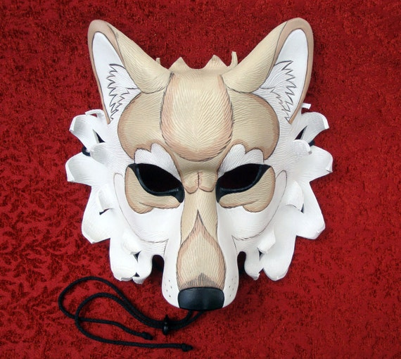 Cream and White Dire Wolf Leather Mask... handmade leather wolf mask original leather mask
