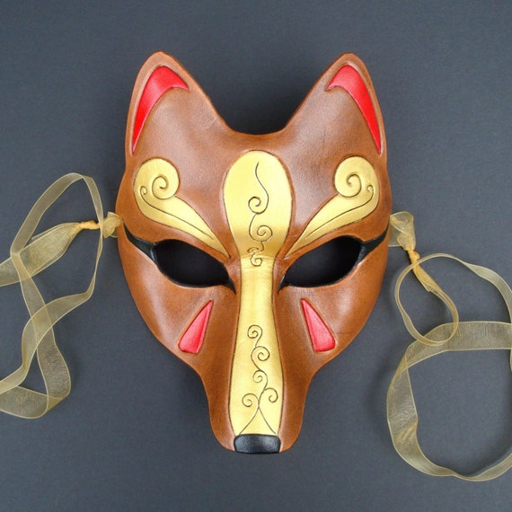 Brown and Gold Kitsune Mask...Handmade Leather Japanese Fox Mask