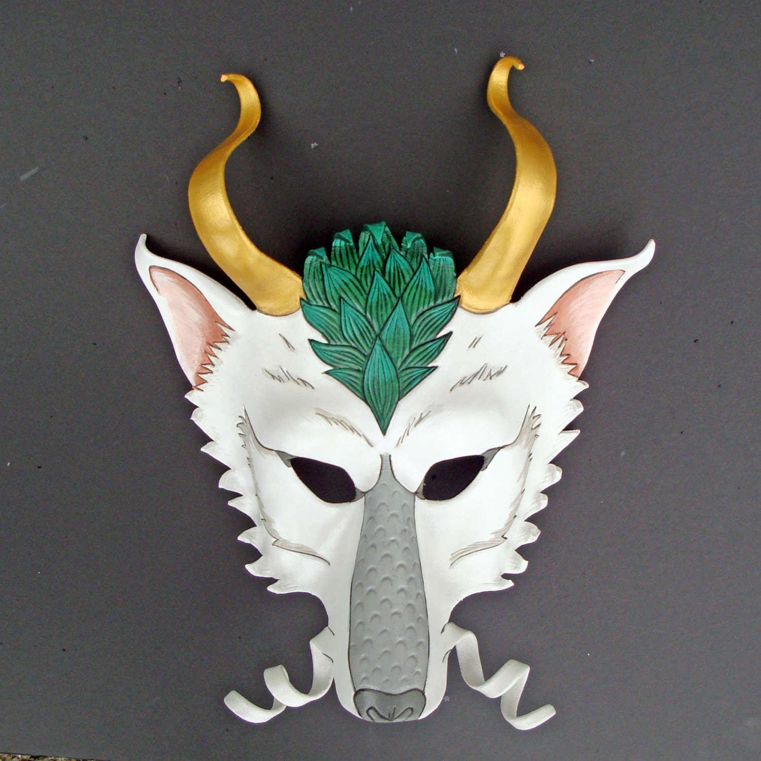 Haku Mask Handmade Leather Dragon Mask