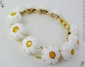 Millefiori Bracelet Daisy Chain White Gold