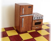 Miniature Dollhouse Refrigerator and Stove - Wood Stain