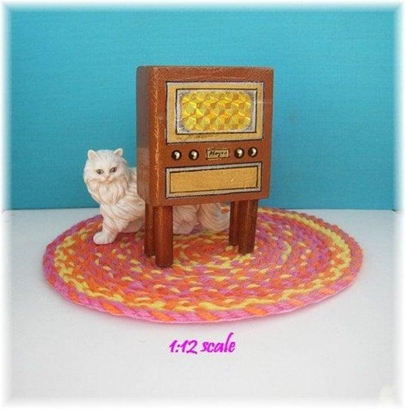 Dollhouse Miniatures Tv: Miniature Dollhouse Furniture Vintage TV Set