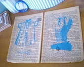 Dictionary Diptych (two gocco prints on vintage book pages)
