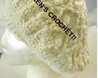 Diamonds with Popcorns Cable Beret-PDF Pattern Only Digital Download