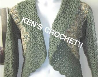 Granny and V-Stitch Bolero Jacket-Digital Download PDF Pattern only