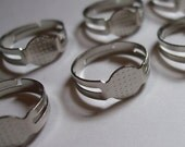 25pcs nickle free silver finish adjustable ring blanks with 8mm flat pad