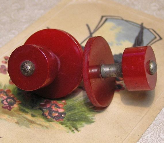 Two Red Bakelite Drawer Pulls Vintage Knobs Hardware
