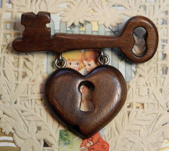 Vintage Heart Key Wooden Pin